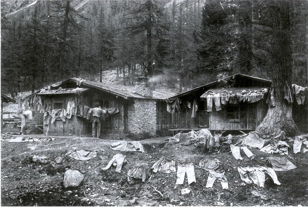 Insediamento di baracche operaie presso il Tunnel dell'Albula