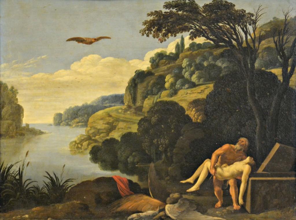 Paesaggio con la sepoltura di Dedalo e Icaro (1606-1607), di Carlo Saraceni.