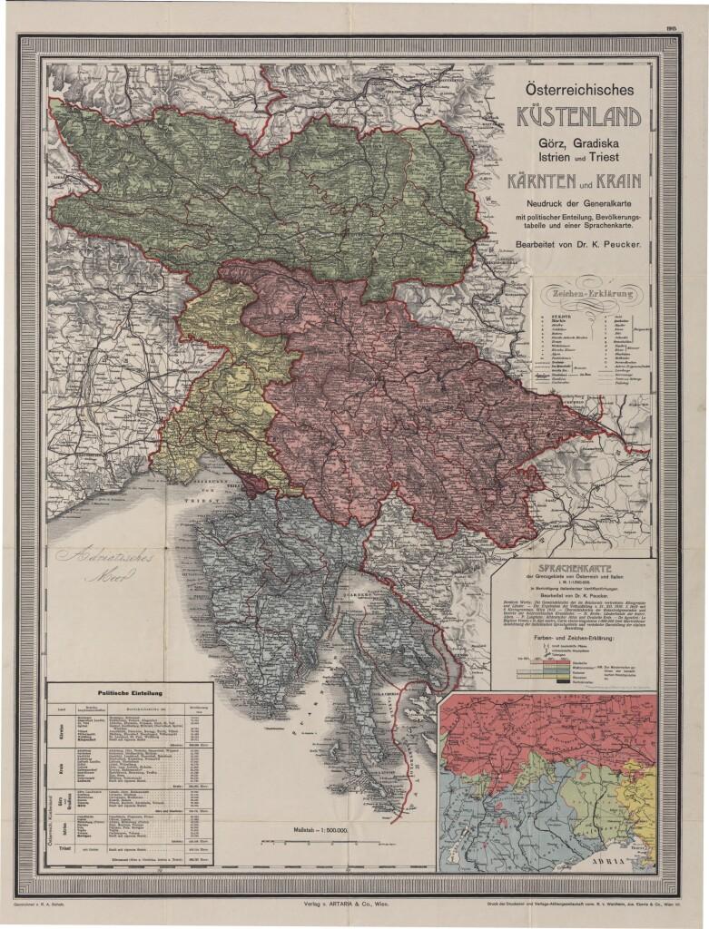 Carta del Litorale Austriaco del 1915 (da Wikimedia Commons)