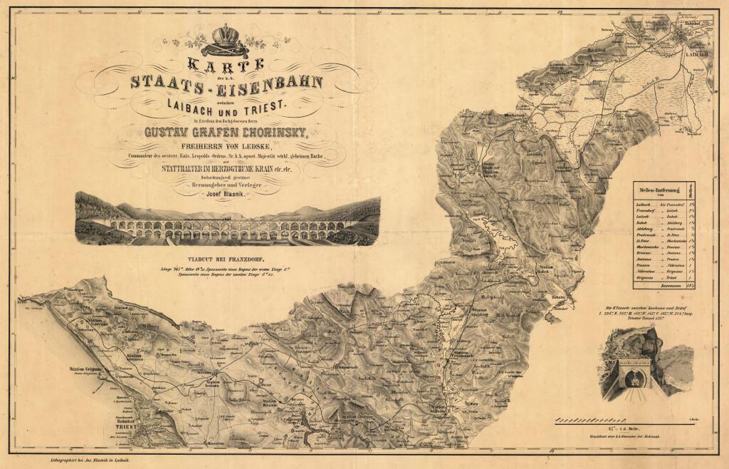 Carta della Ferrovia Meridionale tra Lubiana e Trieste, 1850 (da Wikimedia Commons)