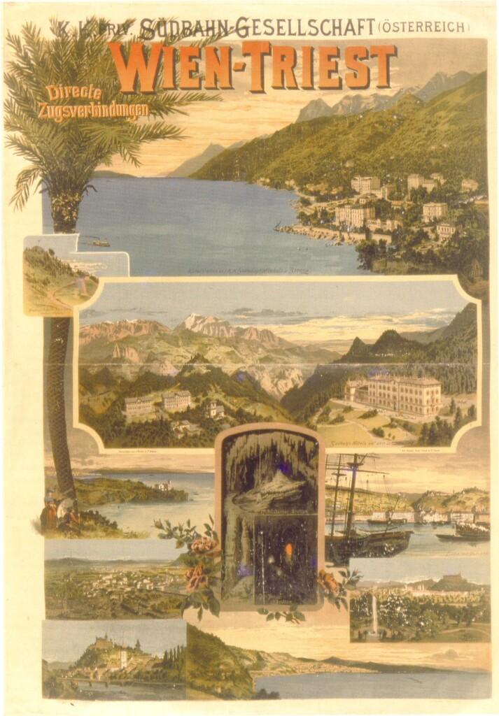 """Manifesto pubblicitario della Südbahn, 1898 (da """"Grosser Bahnhof. Wien und die weite Welt"""", Wikimedia Commons)"""
