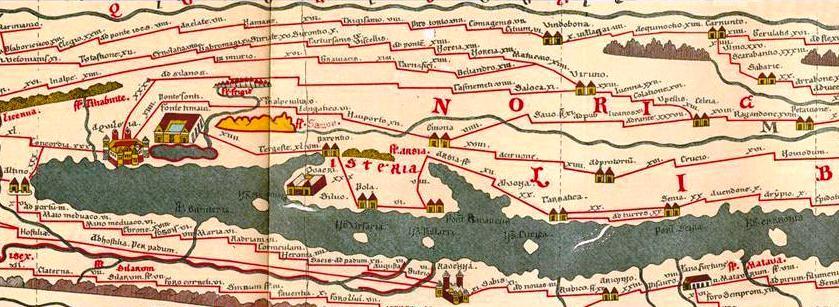 Trieste e l'Istria sulla Tabula Peutingeriana (da Wikimedia Commons)
