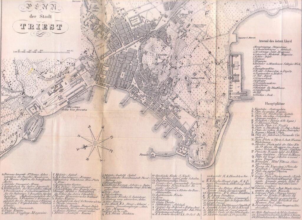 Trieste nel 1857 (da Lloyd-Reiseführer Triest 1857, Wikimedia Commons)