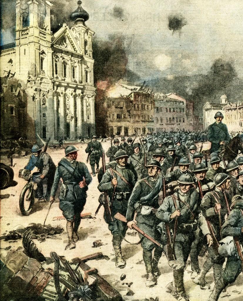La presa di Gorizia durante la Sesta Battaglia dell'Isonzo (illustrazione de La Domenica del Corriere, 1916)