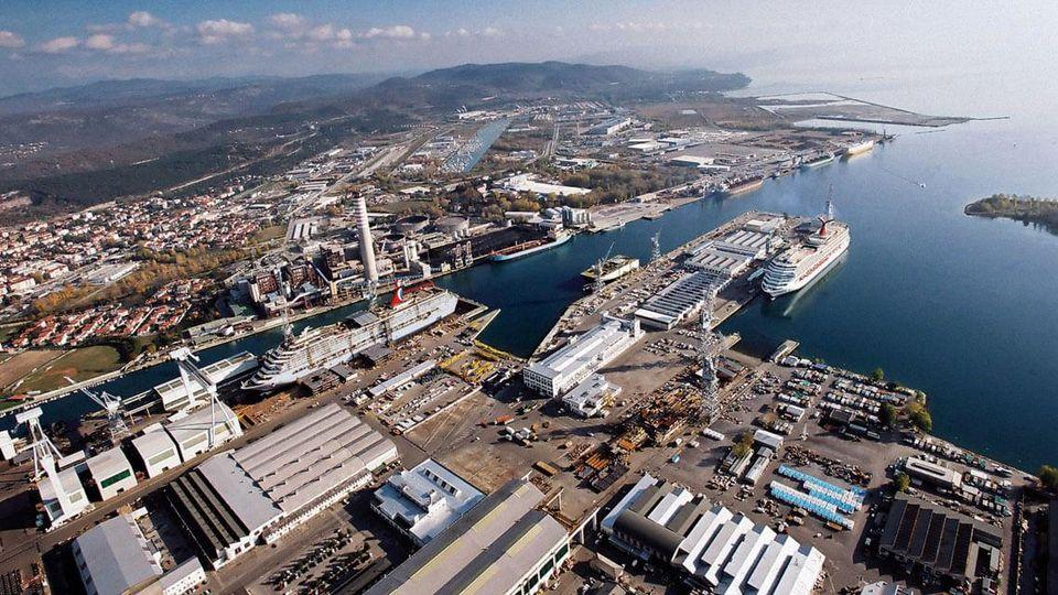 Il cantiere navale Fincantieri di Monfalcone oggi (Il Piccolo)