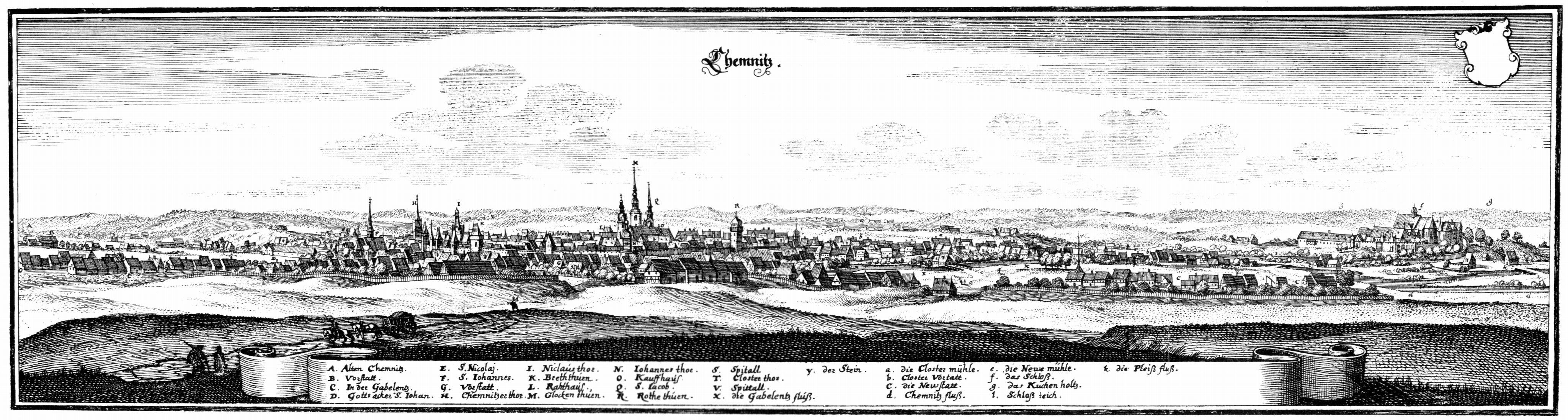 Veduta di Chemnitz nel 1650, incisa da Matthäus Merian (Wikimedia Commons)